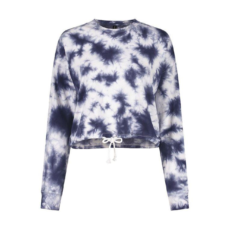 H&H Women's Long Sleeve Terry Crop Drawcord Sweatshirt, Blue Dark, hi-res