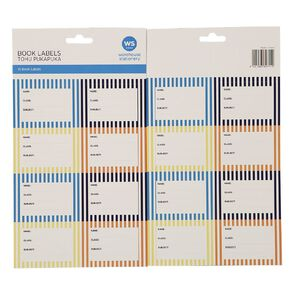 WS Book Labels Stripe 16 Pack