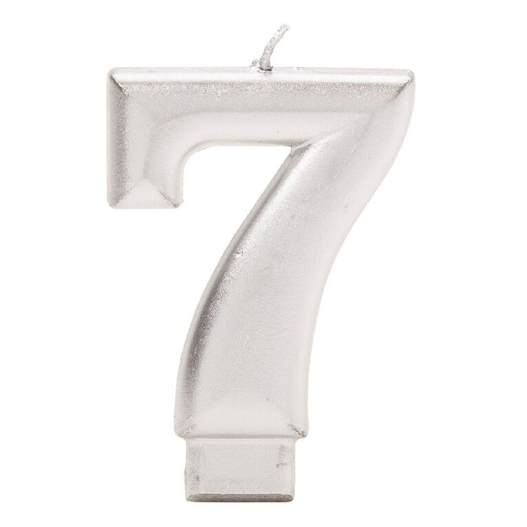 Candle Metallic Numeral #7 Silver, , hi-res