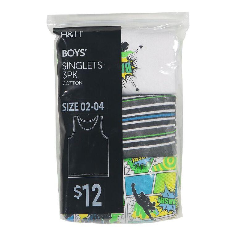 H&H Boys' Singlet 3 Pack, Green/White, hi-res