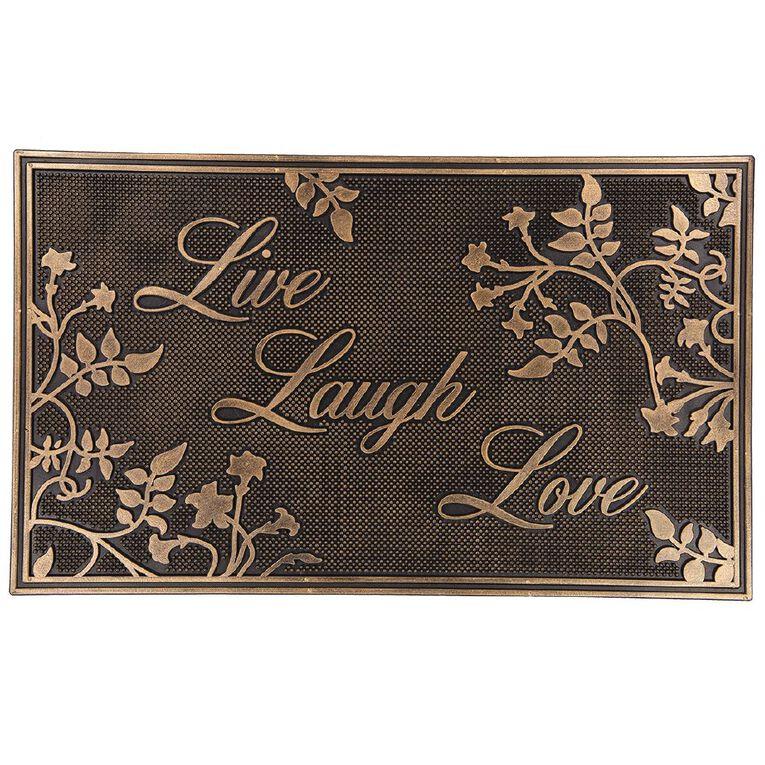 Living & Co Live Laugh Love Metallic Door Mat Bronze 45cm x 75cm, Bronze, hi-res