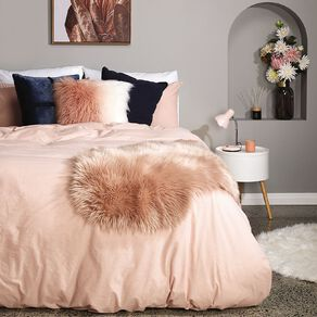 Living & Co Duvet Cover Set Chambray Slub Peach Whip Pink