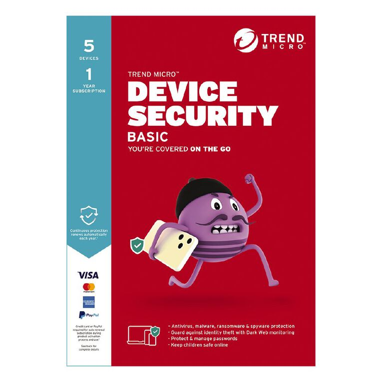 Trend Micro Device Security Basic - 5 Device 1 Year Subscription, , hi-res