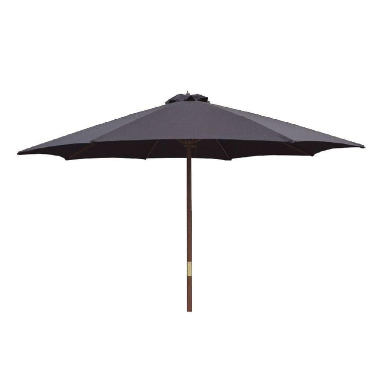 Living & Co Market Wood Umbrella Black 3m, , hi-res