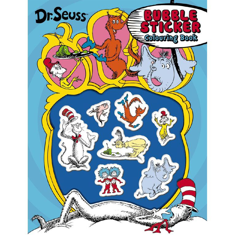 Dr Seuss Bubble Sticker Colouring Book, , hi-res