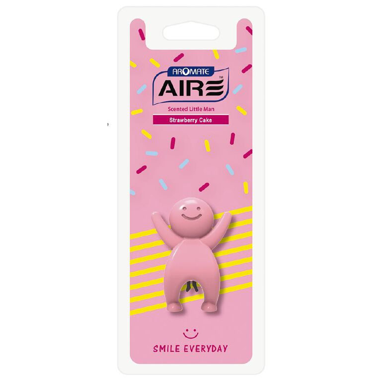 Aromate Strawberry Cake Scented Little Man Auto Air Freshener, , hi-res