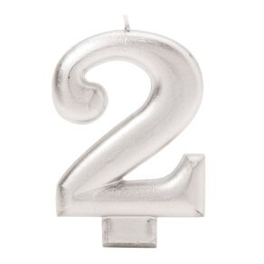 Candle Metallic Numeral #2 Silver