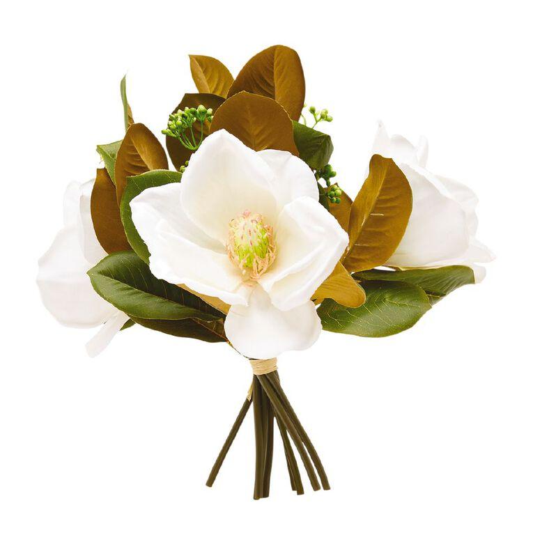 Living & Co Artificial Magnolia Bunch White 30cm, , hi-res