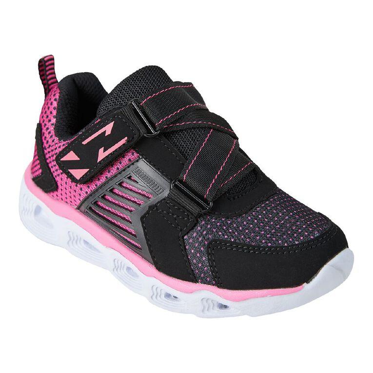 Active Intent Girls' Zig Zag Flash Shoes, Black, hi-res