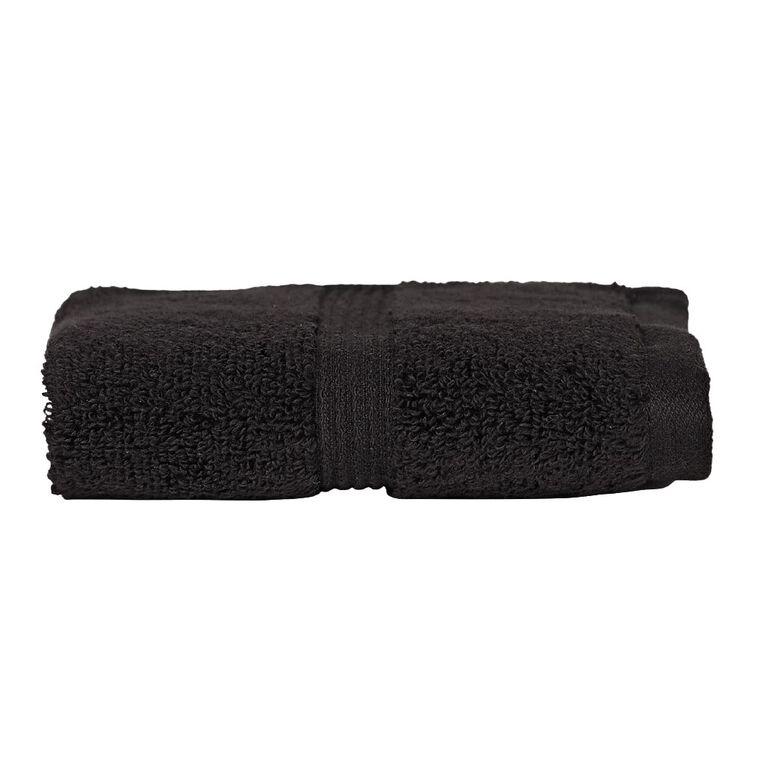 Living & Co Montreal Face Towel Black 30cm x 30cm, Black, hi-res