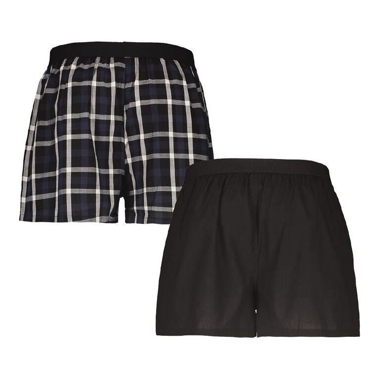 H&H Men's Woven Boxers 2 Pack, Black/Navy, hi-res