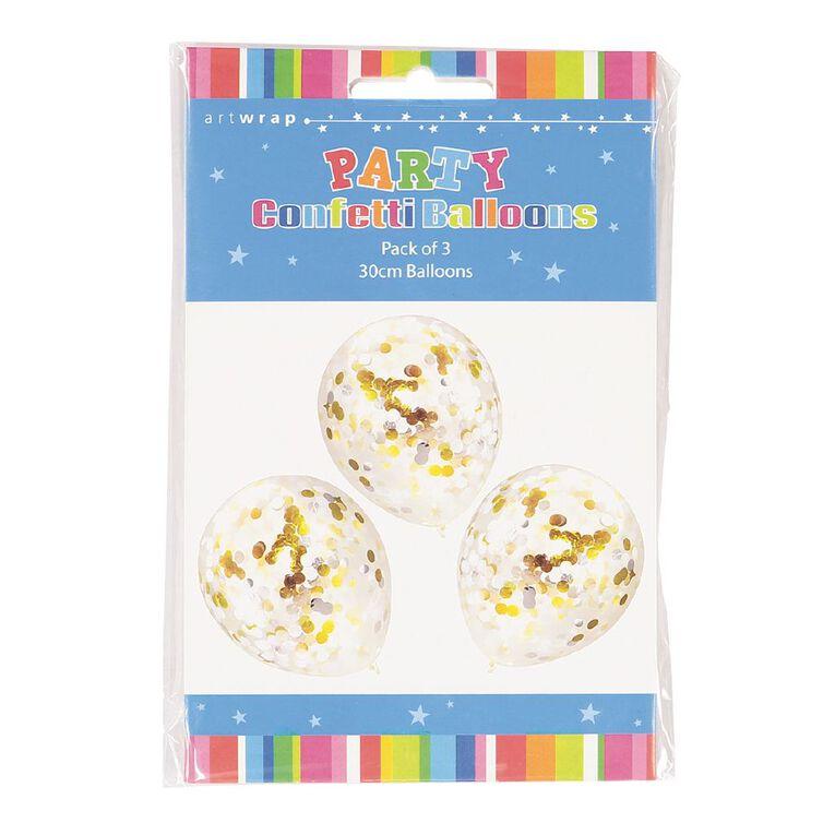 Artwrap Party Confetti Balloons Formal Foil Gold/Silver 30cm 3 Pack, , hi-res