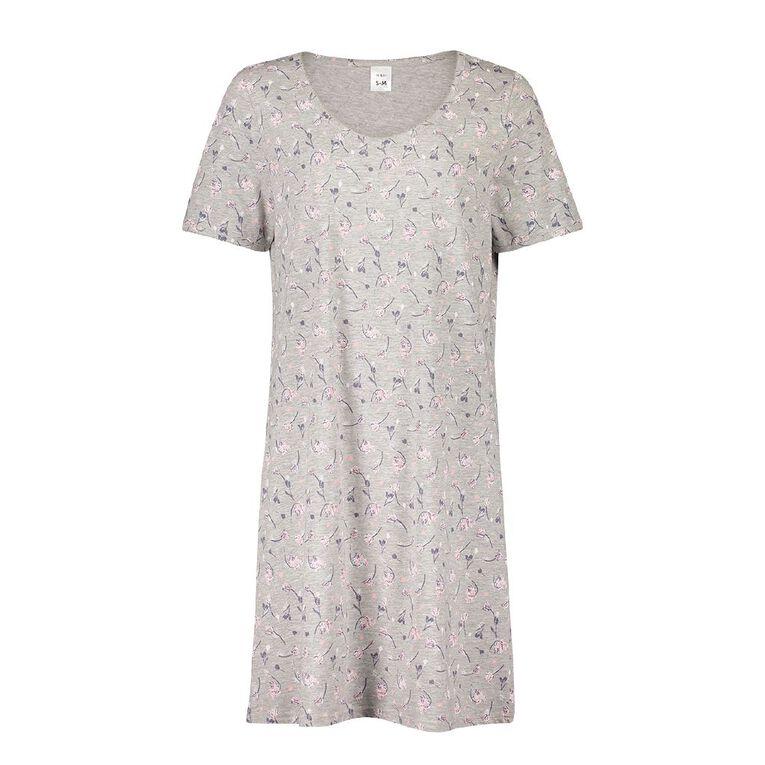 H&H Women's Short Sleeves Nightie, Grey Dark, hi-res