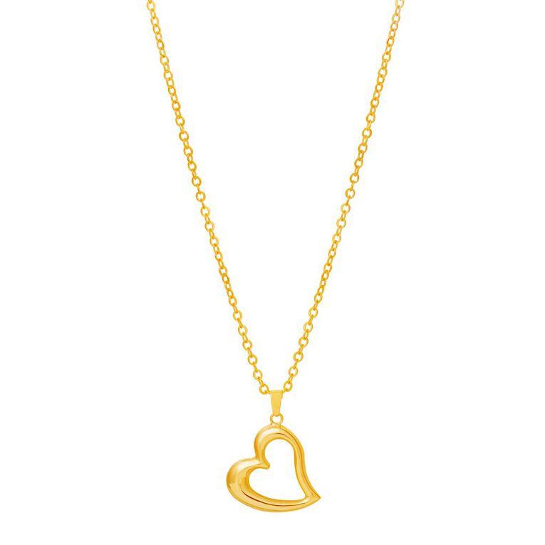 9ct Gold Open Heart Pendant, , hi-res