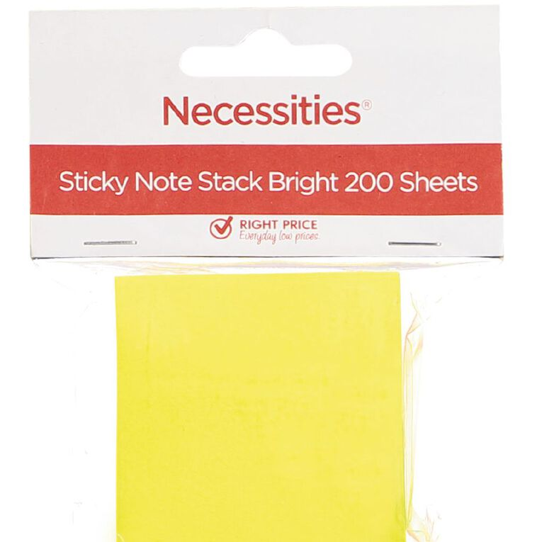 No Brand Sticky Notes Stack Bright Small 200 Sheets, , hi-res