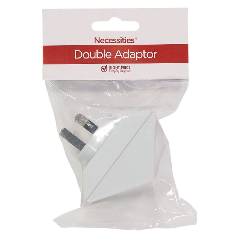 Necessities Brand Double Adapter White, , hi-res