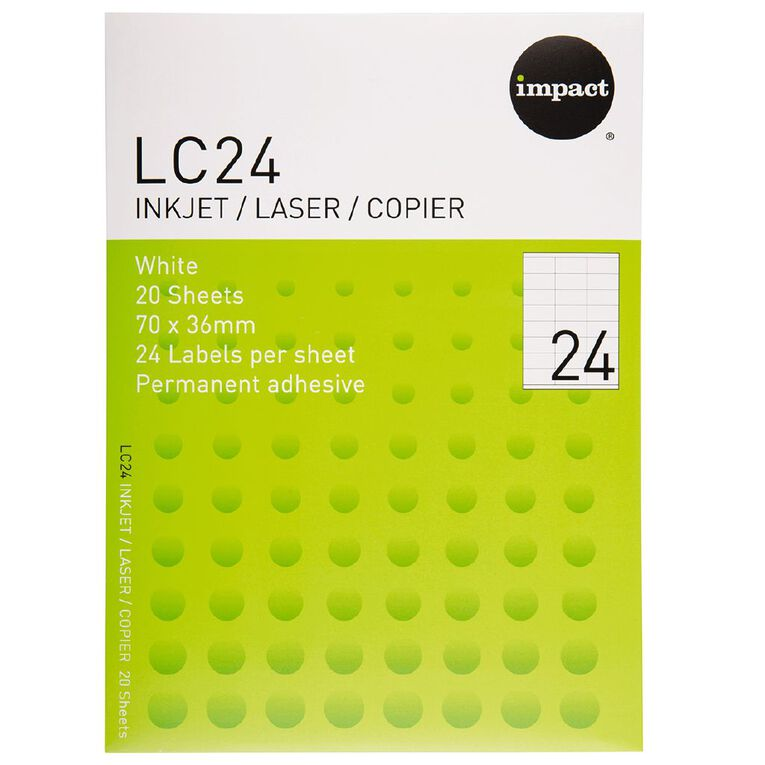Impact Labels 20 Sheets A4/24 White, , hi-res
