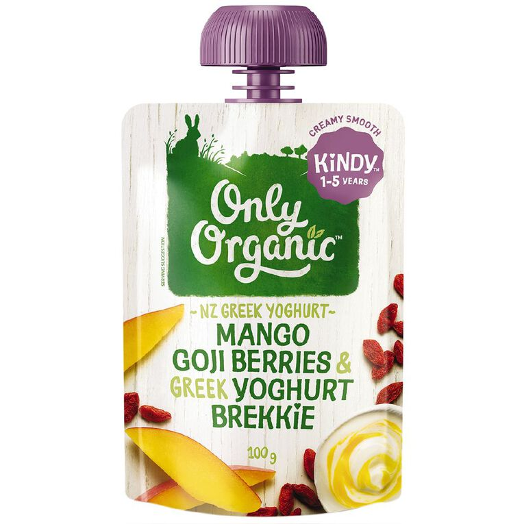 Only Organic Kindy Mango & Goji Berry Greek Yoghurt Brekkie Pouch, , hi-res