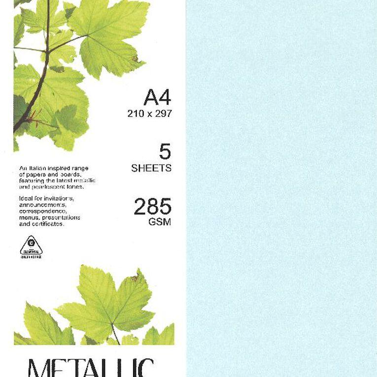 Direct Paper Metallic Board 285gsm 5 Pack Aquamarine A4, , hi-res