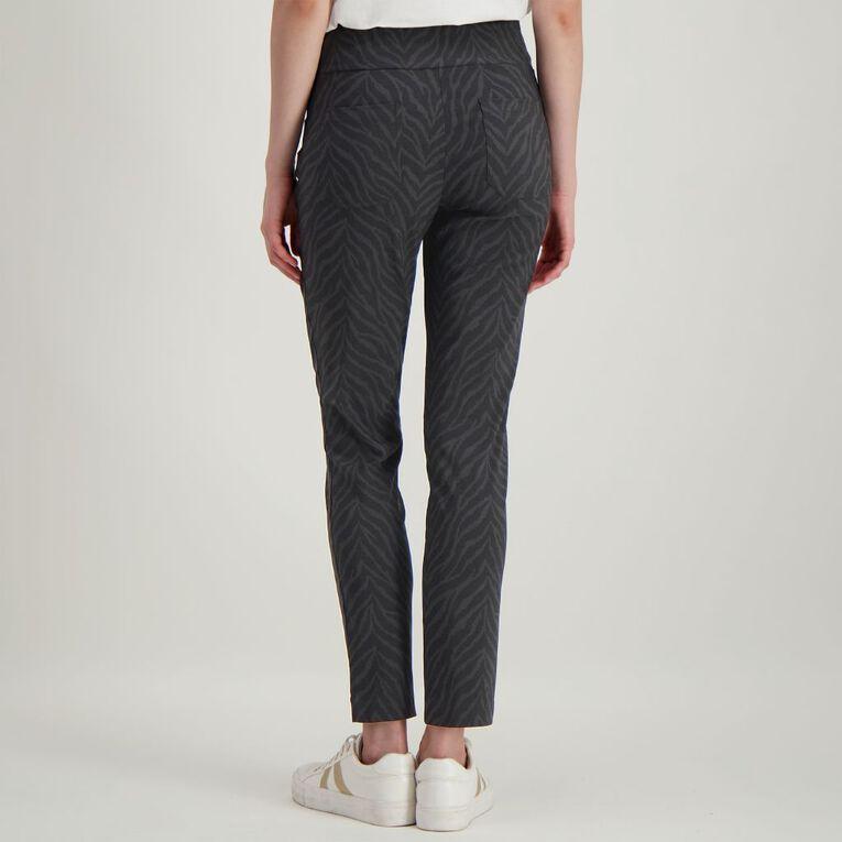 H&H Women's Printed Bengaline Pants, Black/Grey, hi-res