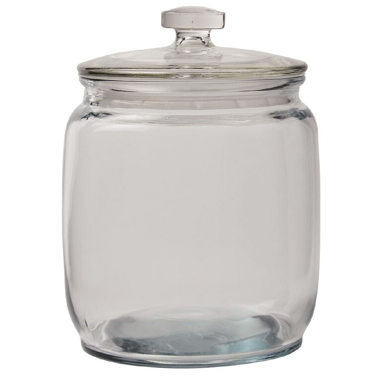 Living & Co Round Glass Jar Clear 2.1L, , hi-res