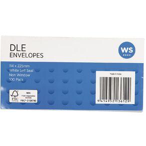WS Envelope DLE Self Seal 100 Pack