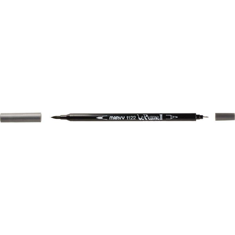 MARVY Le Plume II Dual Tip Marker Dark Grey, , hi-res