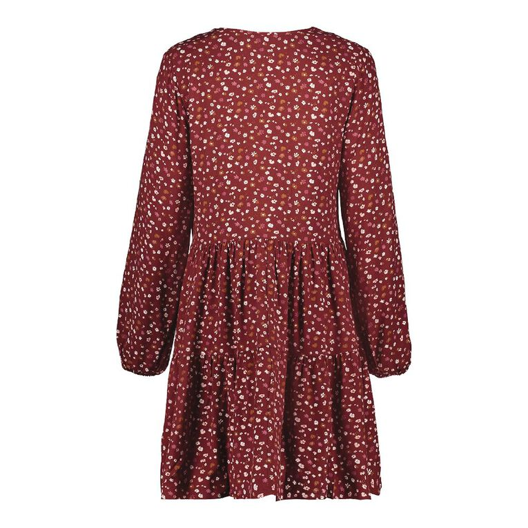 H&H Women's Tiered Print Dress, Red Mid, hi-res