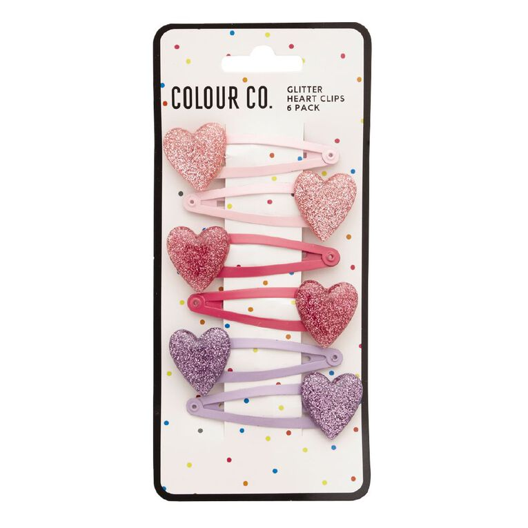 Colour Co. Heart Clips 6 Pack, , hi-res