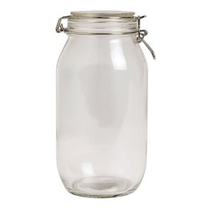 Living & Co Round Glass Clip Top Jar Clear 2.2L