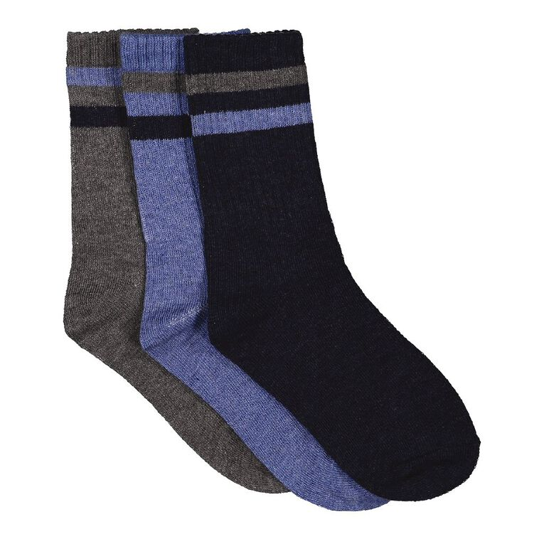 H&H Boys' Crew Socks 3 Pack, Blue Dark, hi-res