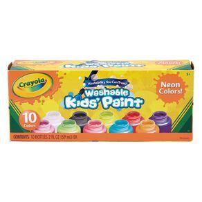 Crayola Washable Neon Kids Paint Multi-Coloured 10 Pack