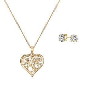 Mestige Gold Plated Swarovski Crysal TreeofLife Necklace & Earrings Set