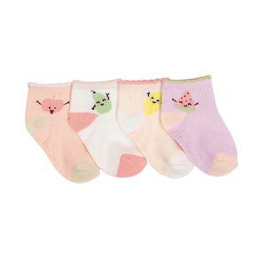 Underworks Infants' Patterned Mid Crew Socks 4 Pack