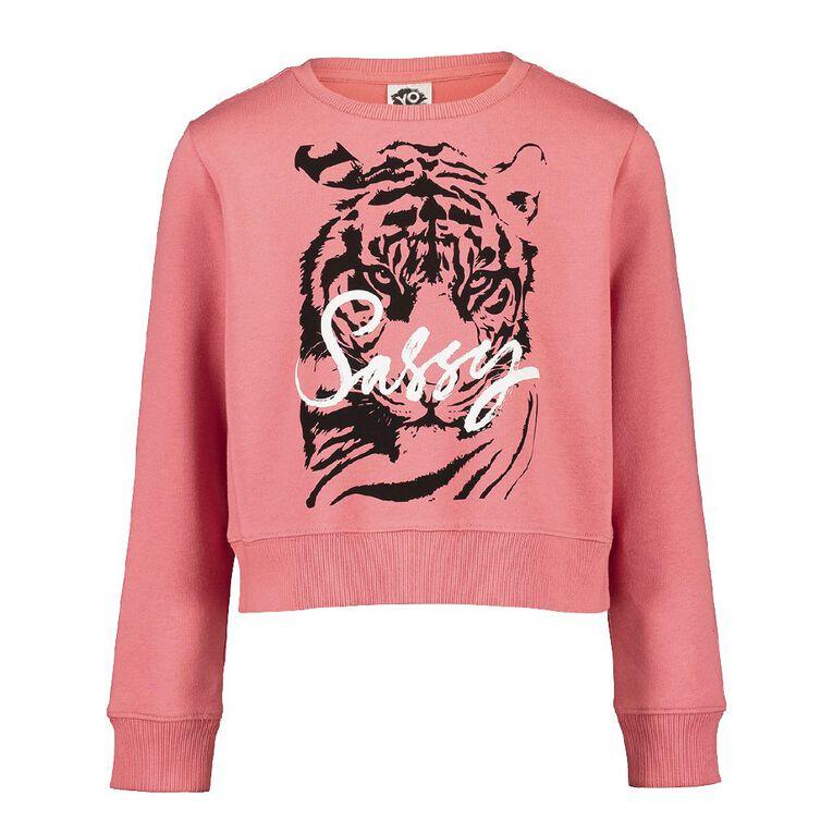 Young Original Pull Over Print Crew Sweatshirt, Pink Mid, hi-res