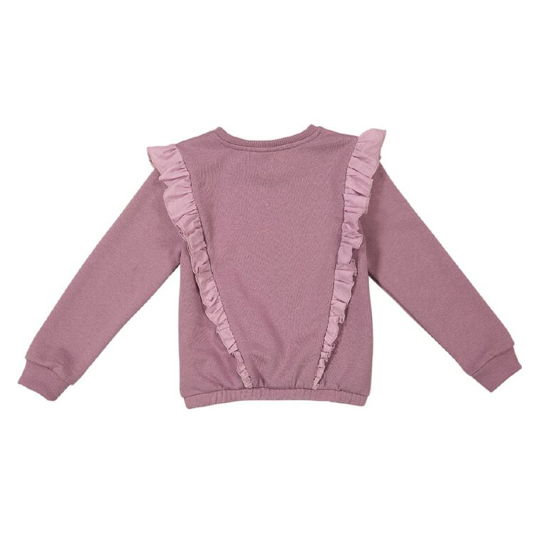 Young Original Print Frill Sweatshirt, Purple Mid, hi-res
