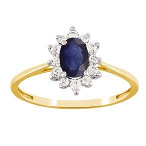 9ct Gold Diamond Synthetic Sapphire Oval Halo Ring