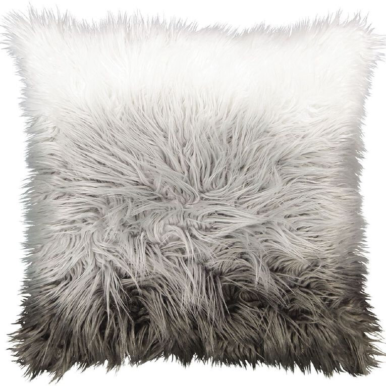 Living & Co Faux Fur Floor Cushion Ombre Grey 60cm x 60cm, Grey, hi-res image number null