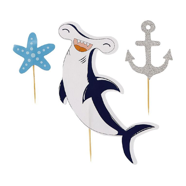 Party Inc Shark Theme Cake Toppers 3 Pack, , hi-res