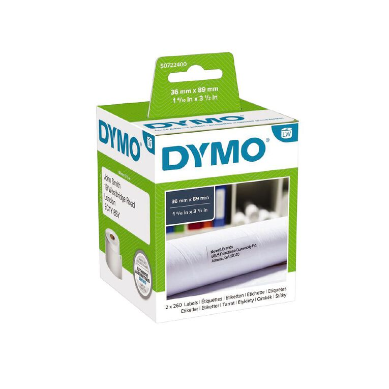 Dymo Label Tape Large Add Paper/White 89mm x 36mm, , hi-res