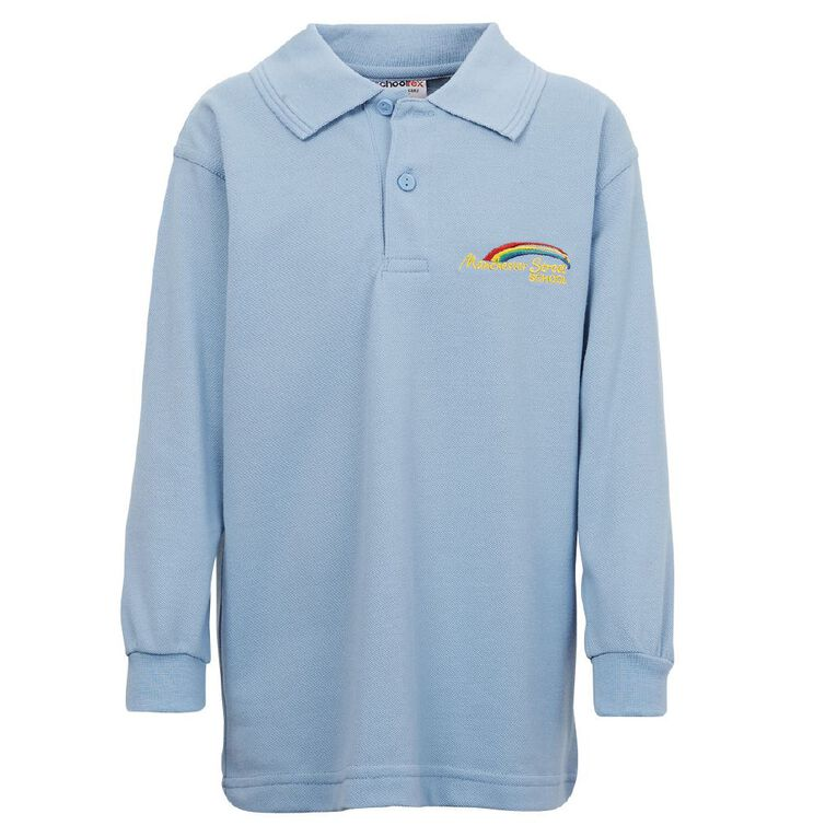 Schooltex Manchester Street Long Sleeve Polo with Embroidery, Sky Blue, hi-res