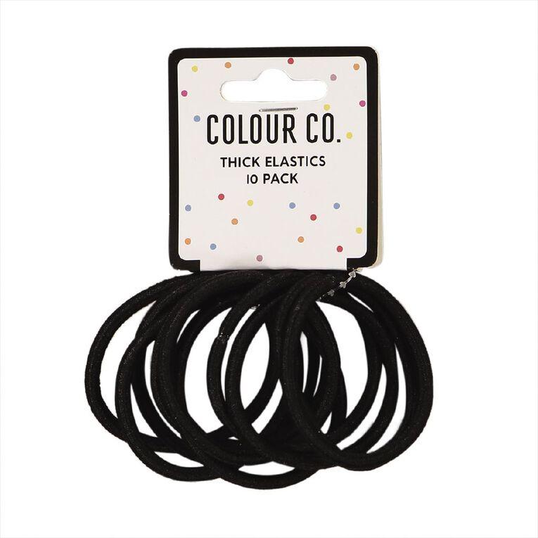 Colour Co. Hair Large Thick Snagless Elastics Black 10 Pack, , hi-res