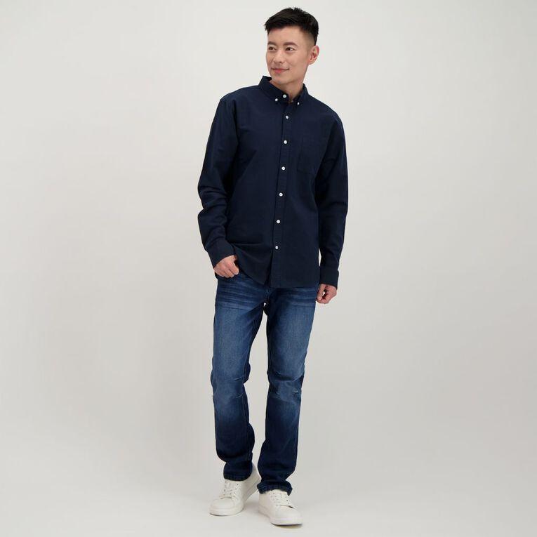H&H Men's Long Sleeve Classic Oxford Shirt, Navy, hi-res