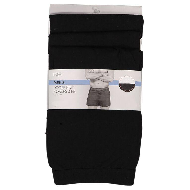H&H Men's Loose Knit Boxers 3 Pack, Black, hi-res