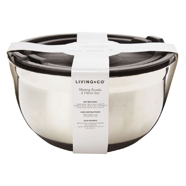 Living & Co Stainless Steel Mixing Bowls with Lids 3 Piece, , hi-res