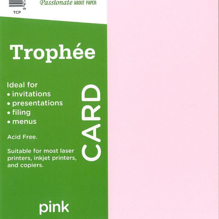 Trophee Card 160gsm 15 Pack Pink A4, , hi-res
