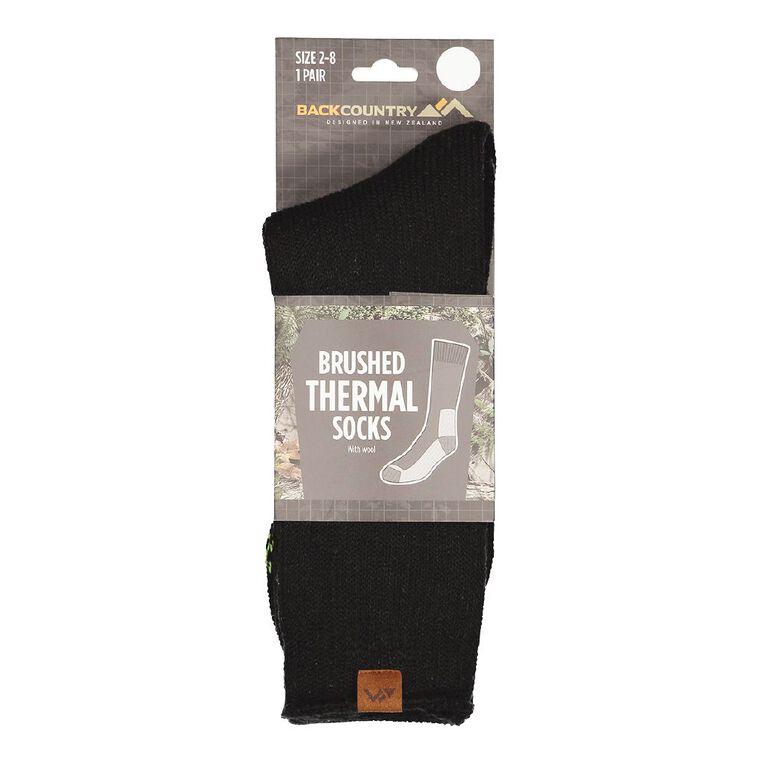 Back Country Women's Brushed Thermal Socks 1 Pack, Black, hi-res