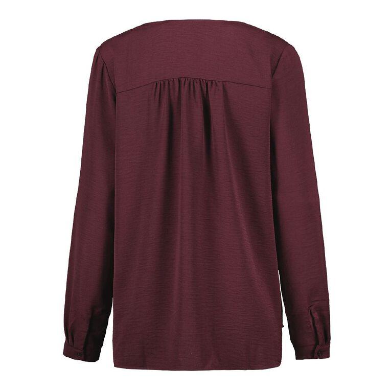 H&H Women's Twill Tuck Blouse, Red Dark, hi-res