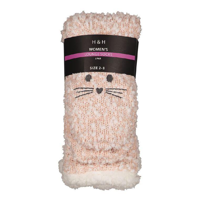 H&H Women's Lounge Sherpa Socks, Pink Light, hi-res