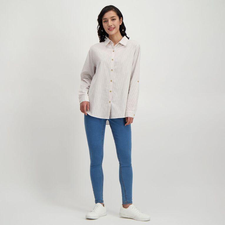 H&H Women's Seersucker Shirt, White, hi-res